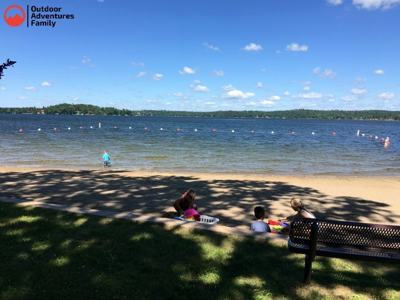 Swimming beach at Gull Lake Campground