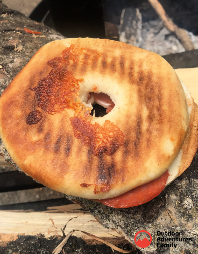 campfire bagel pizza